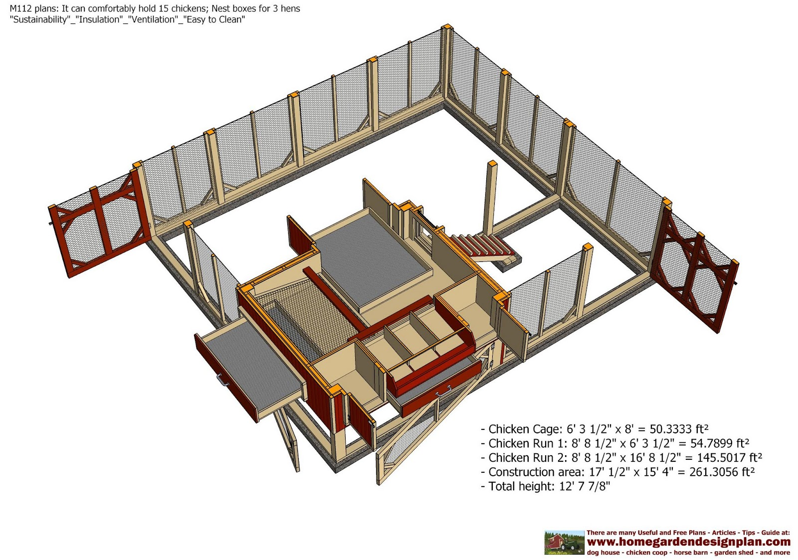 Home garden plans m112 chicken coop plans construction for Chicken run for 6 chickens