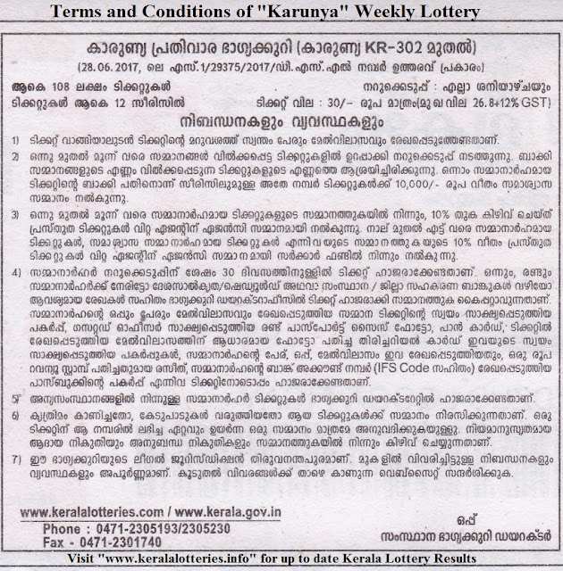 "Terms and Conditions of Kerala Lottery ""Karunya"""
