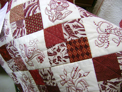 red white quilt Jacobean embroidery