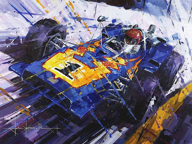 a John Ketchell painting of a race car, number 1