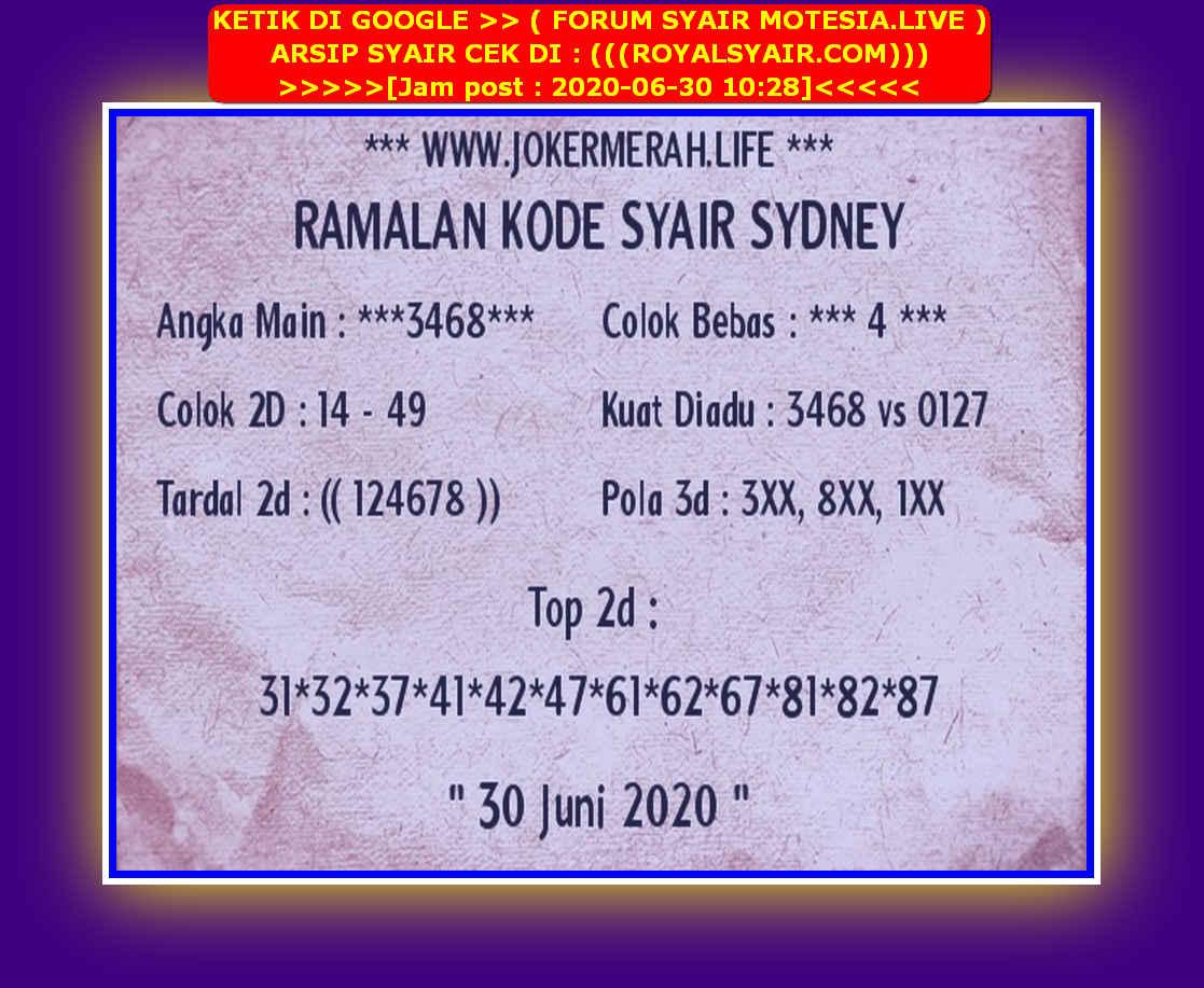 Kode syair Sydney Selasa 30 Juni 2020 124