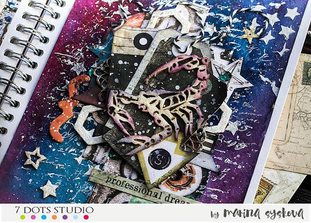 @marinasyskova #scrap #scrapbooking #mixedmedia #7dotsstudio #artjourna