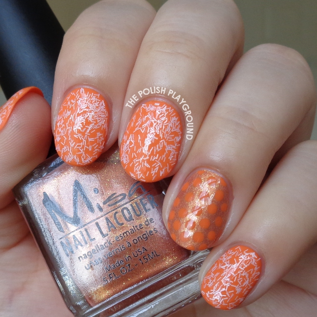 Pink Fuzzy Glitters with Orange Polka Dot Accent Nail Art