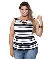 Estilo jovem regata feminina listrada Plus Size Marisa