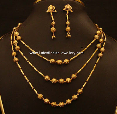 Trendy Multi Layer Chain With Gold Balls Paired With Earrings