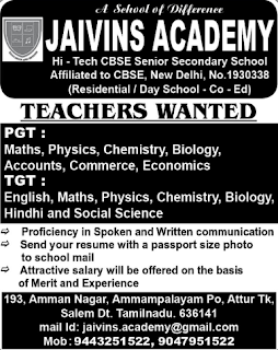 Jaivins Academy Wanted PGT/TGT Teachers