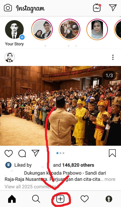 Tekan Tombol Buat Posting Baru Instagram