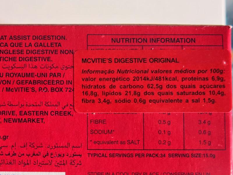 McVitie's Digestive Informação Nutricional