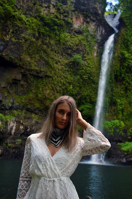 fashion photoshoot in waterfall