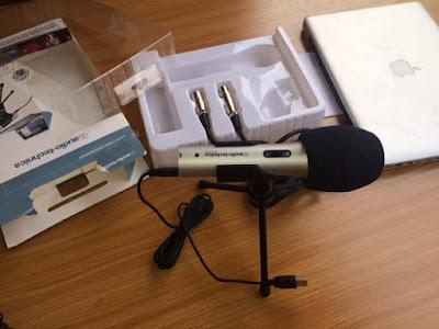 studio recording microphone with macbook pro