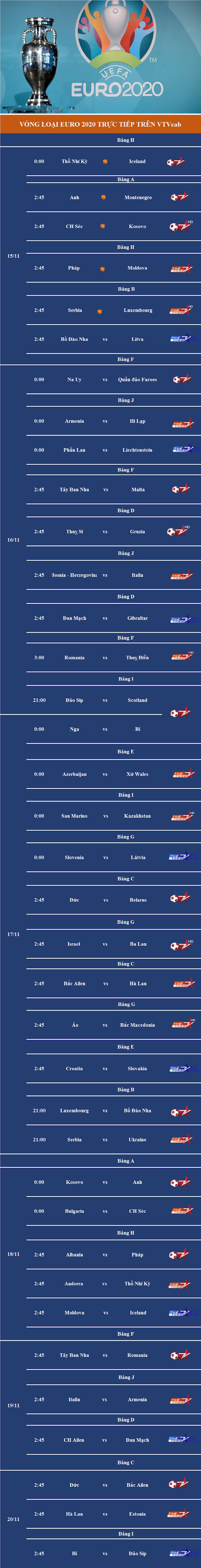 Trực tiếp vòng loại EURO 2020 trên VTVcab