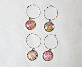 image wine glass charm mandala set earth colours red green orange brown domum vindemia handmade