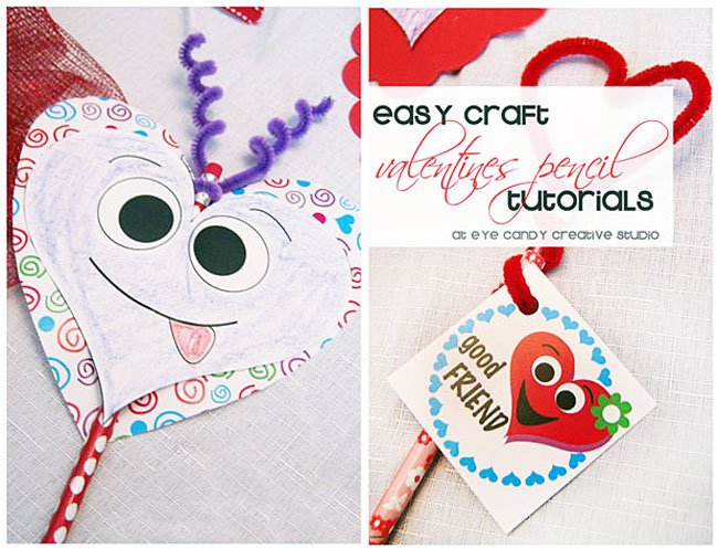 valentine pencil tutorials, kids valentine pencil crafts, classroom craft