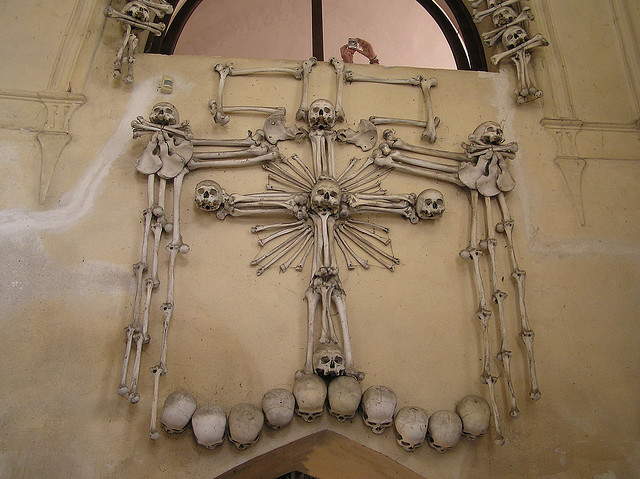 The sedlec ossuary the art of human remains kuriositas it is said that the chandelier was built using at least one example of each and every bone in the human body aloadofball