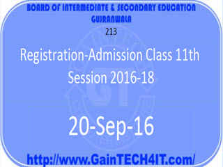Registration-Admission Class 11th Session 2016-18