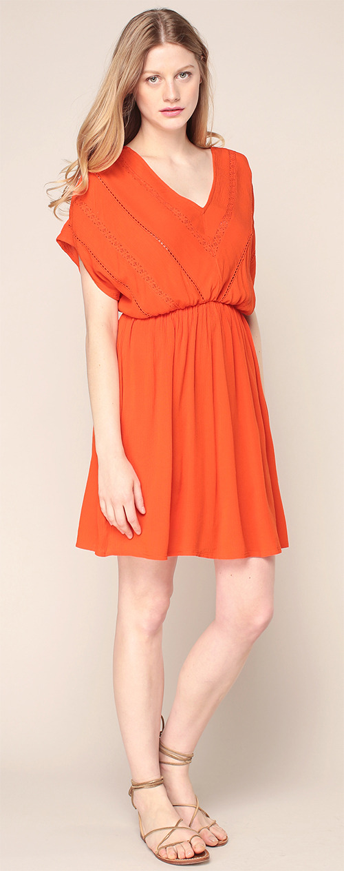 Robe courte trapèze en viscose orange Vero Moda