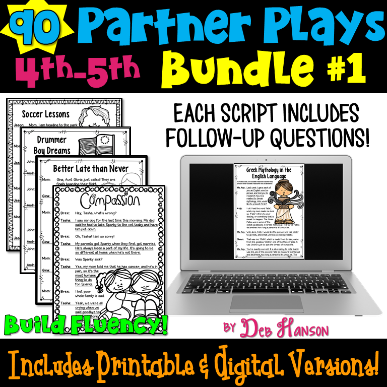 Partner Play Bundle of 90 scripts for upper elementary grades! These are a perfect reading activity that builds fluency! Ideal for classroom implementing the Daily 5 routine!
