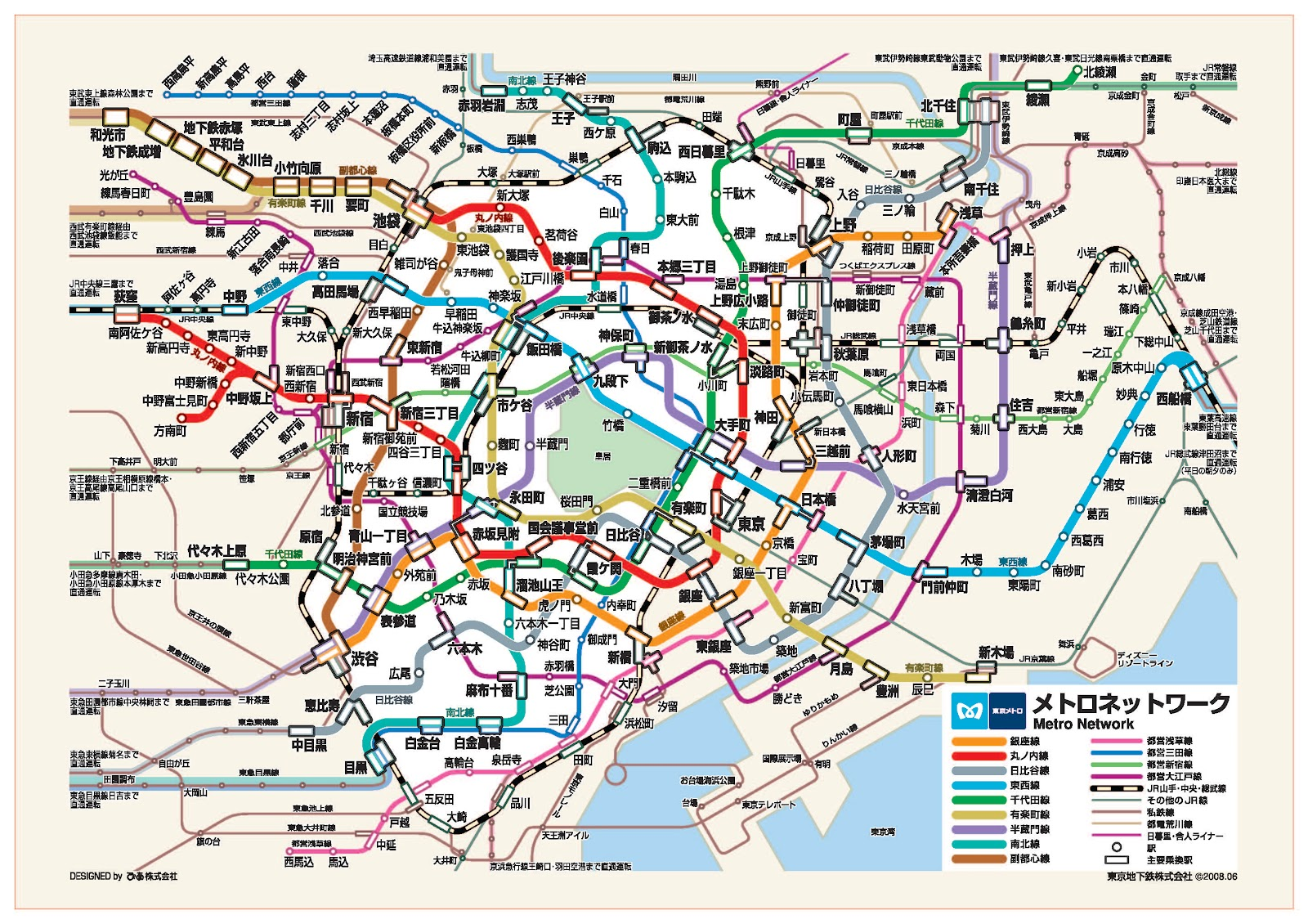 腦內旅行。: 超級好用!東京旅遊必備地鐵圖