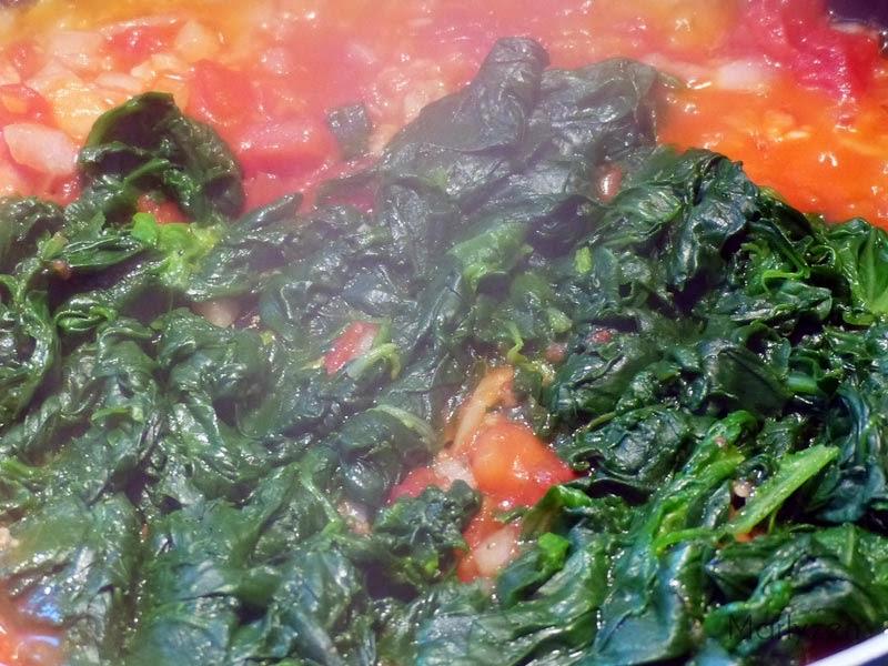 Oignon, ail, épinards, tomates.