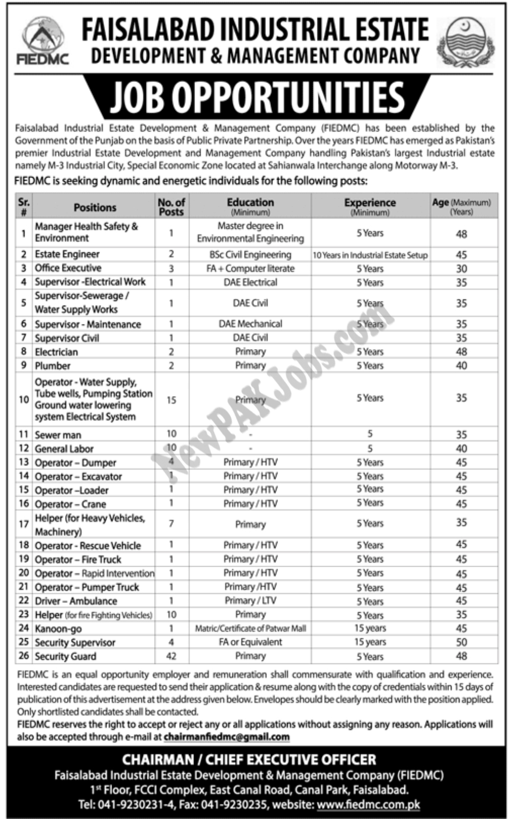 New Jobs In Faisalabad Industrial Estate Development and Management Company (125 Positions),Latest Govt Vacancies