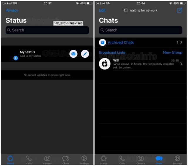 interfaz de whatsapp en modo oscuro