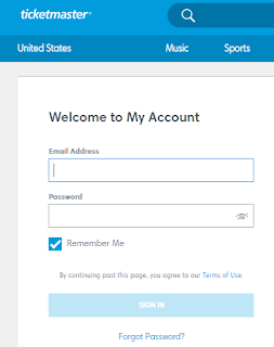 Ticketmaster Full Site Login Page