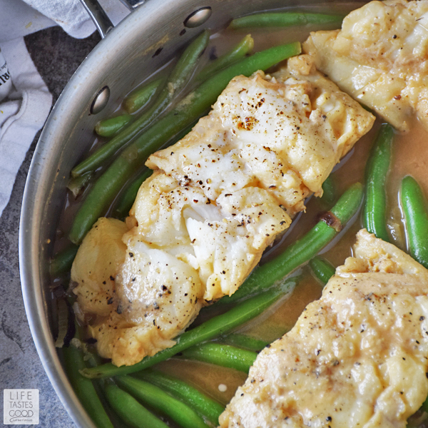 Poached Cod with Pesto Wine Sauce cooks in one skillet