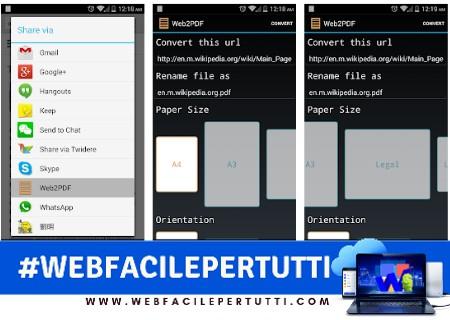 Web2PDF - Applicazione per convertire una pagina Web in PDF su Android