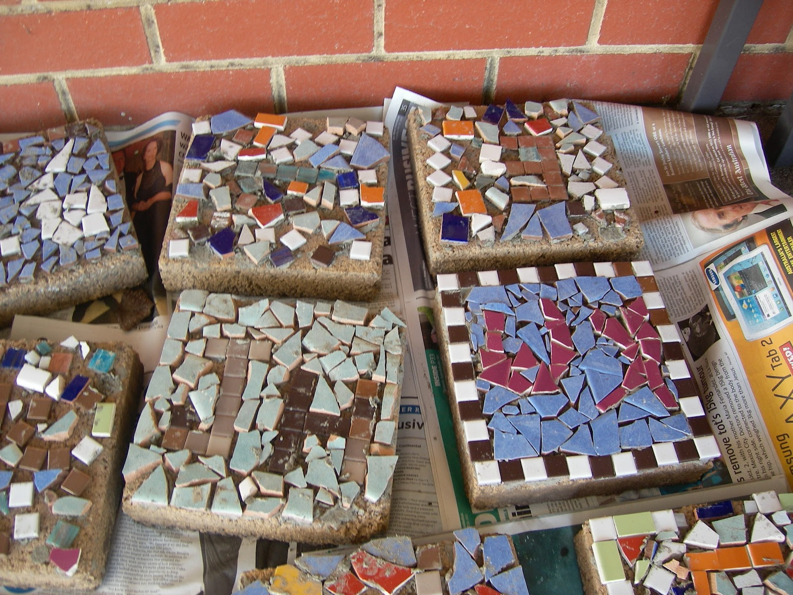 Making Mosaic Tiles For The School Garden With Our Buds