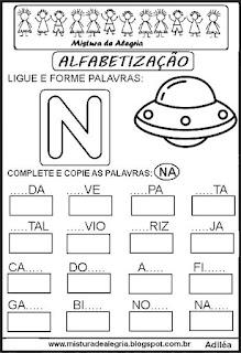 Atividades de alfabetização letra N