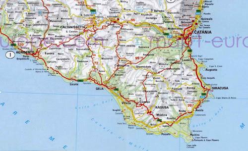 Mapa rodoviário do sul da ilha da Sicília