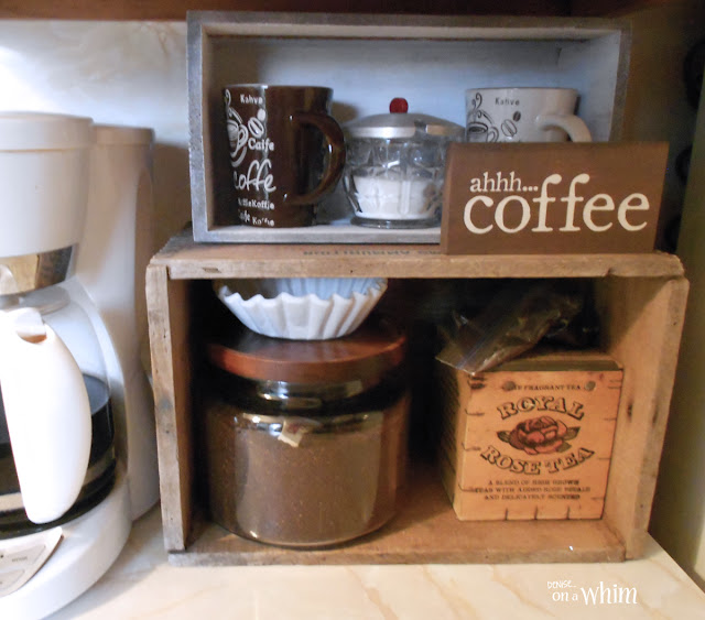 Coffee Station with an Old Ammunition Crate | Denise on a Whim