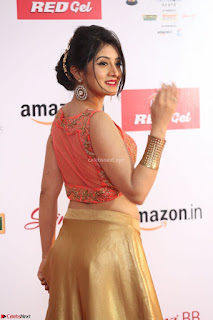 Harshika Ponnacha in orange blouuse brown skirt at Mirchi Music Awards South 2017 ~  Exclusive Celebrities Galleries 011.JPG