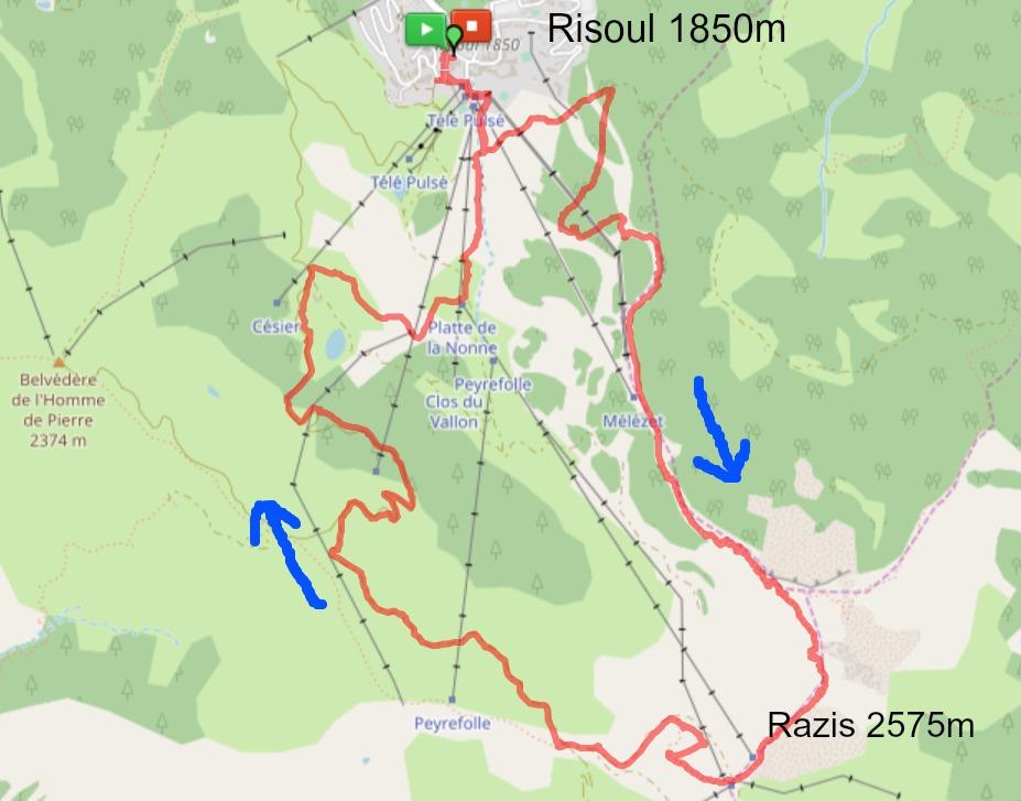 Sommet de Razis hike trail