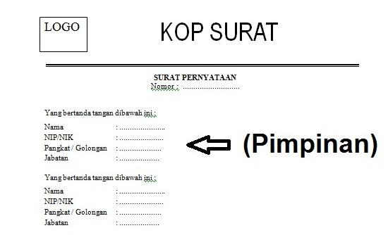Contoh Format Surat Pernyataan Perintah Tugas Dari Pimpinan