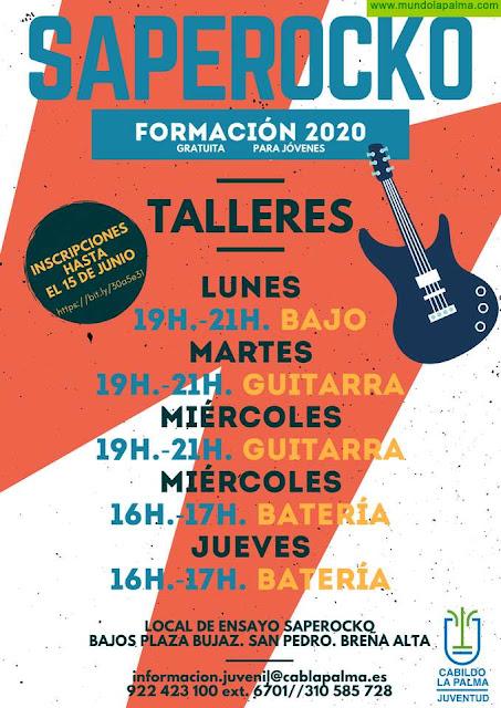 Juventud impartirá clases gratuitas de guitarra, bajo eléctrico y batería en el local de ensayo 'Saperocko'