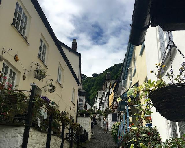 Steep climb up Clovelly, Devon
