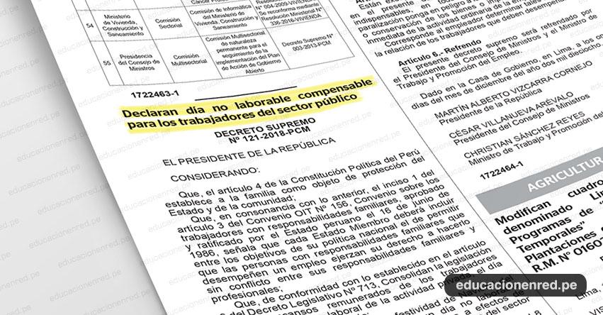 Declaran el Lunes 24 de diciembre día no laborable (D. S. Nº 121-2018-PCM)