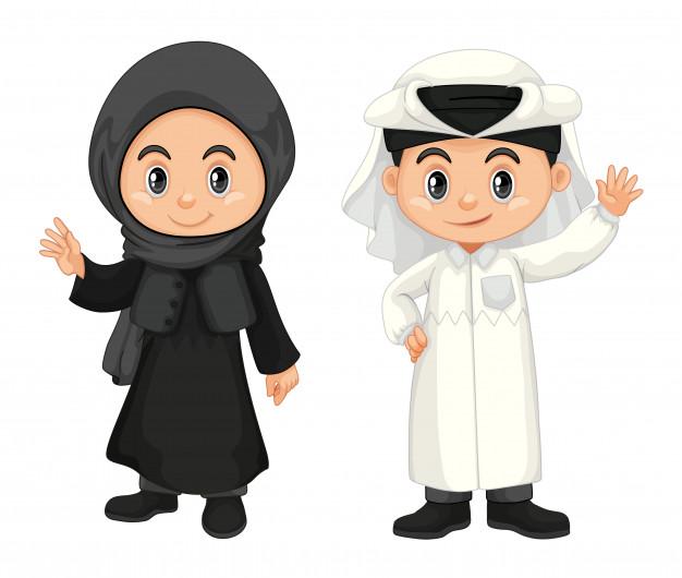 15 Gambar Kartun Muslim Muslimah Vektor Gratis Mbois