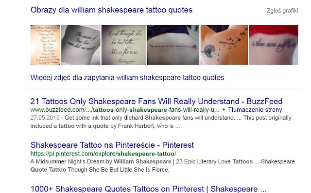 cytaty z Szekspira, Szekspir, tatuaże
