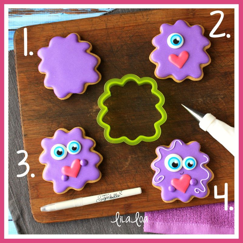 Step-by-step cookie decorating tutorial for love monster decorated sugar cookies