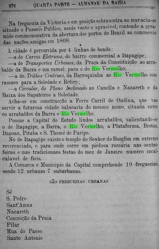 As linhas de Bond Elétrico do Rio Vermelho e a freguesia de Sant' Anna em 1898