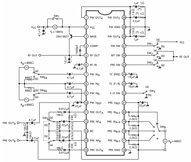 Circuit diagram for 6mW 1.5V Stereo Headphone Amplifier