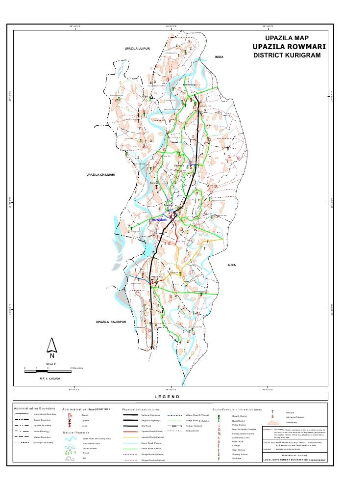 Rowmari Upazila Map Kurigram District Bangladesh