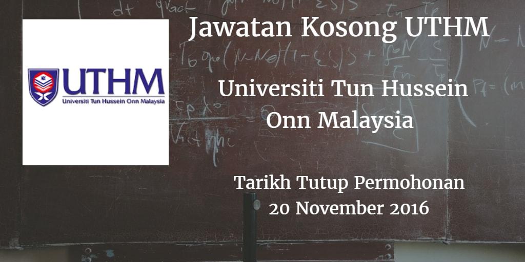 Jawatan Kosong UTHM 20 November 2016