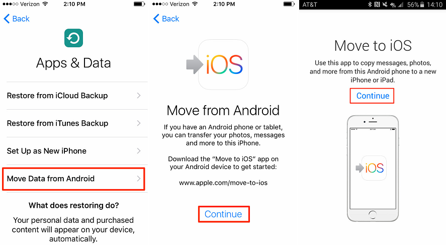 Switch to iOS from Android with Move to iOS