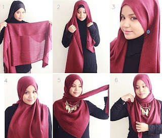 cara memakai hijab paris segi empat terbaru