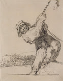 Man Pulling on a Rope by Francisco Goya - Genre Drawings from Hermitage Museum