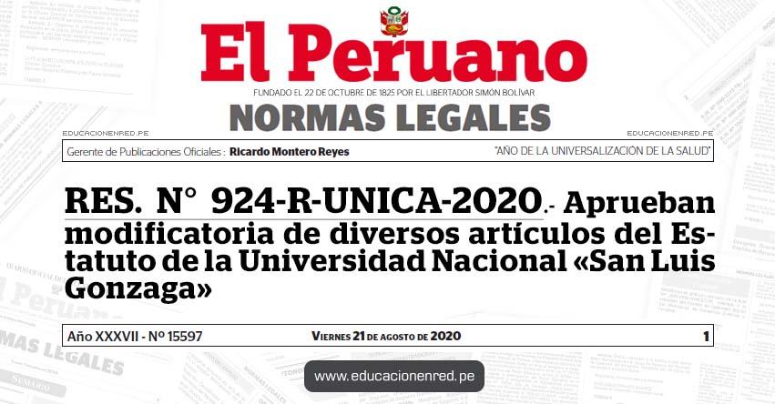 RES. N° 924-R-UNICA-2020.- Aprueban modificatoria de diversos artículos del Estatuto de la Universidad Nacional «San Luis Gonzaga»