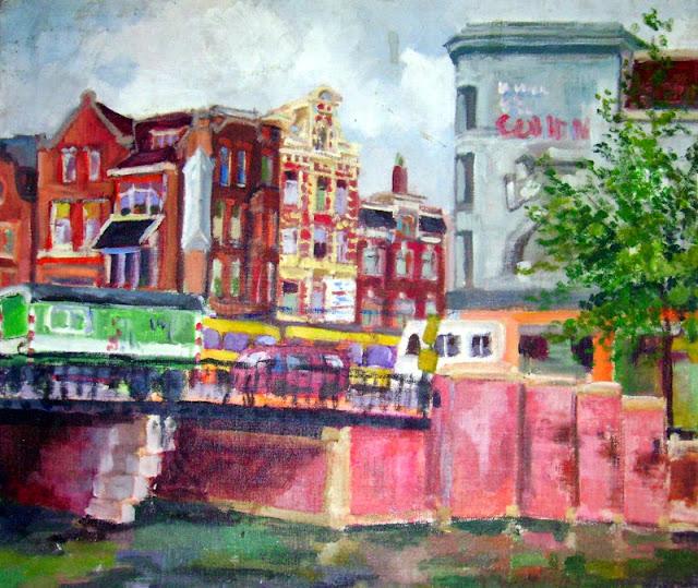 Pintura al acrílico de un paisaje de Amsterdam